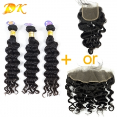 Big Curly 2/3/4 Bundles with Closure 4x4 Luxury Raw Eurasian Hair