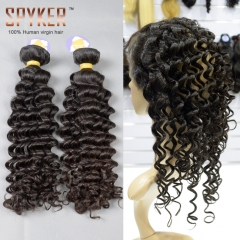 2 or 3 or 4 bundles + 360 Lace Frontal Closure 22.5x4x2 Deep Wave Hair Indian virgin hair weave Spades-A