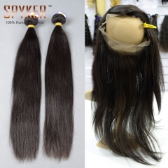 2 or 3 or 4 bundles + 360 Lace Frontal Closure 22.5x4x2 Straight Hair Indian virgin hair weave Spades-A
